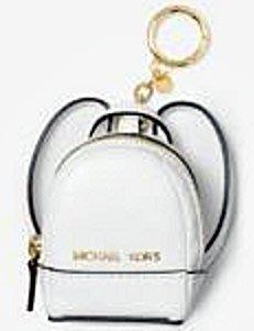大降價!全新美國名牌 Michael Kors MK 白色迷你背包設計皮革鑰匙圈,精巧細緻,無底價!本商品免運費!