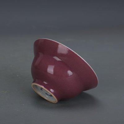 ㊣姥姥的寶藏㊣ 紫色釉單色釉折腰杯功夫茶杯上海博物館款古瓷器文革廠貨古玩收藏