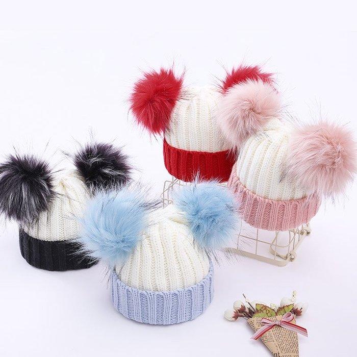 百寶店#兒童秋冬季新款保暖帽子寶寶可愛仿真雙毛球毛線帽男童女童套頭帽