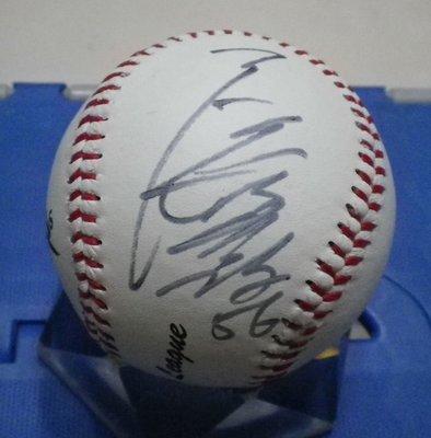 棒球天地---日本職棒 讀賣巨人 廖任磊 簽名球 .字跡漂亮