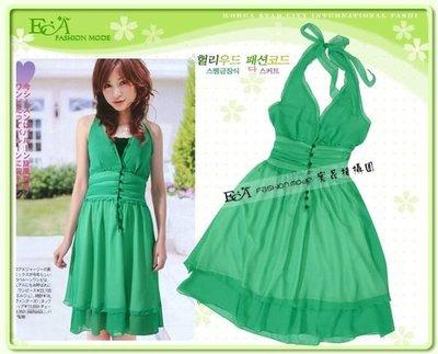 【購物寶盒】韓版雜誌早春新款~甜美氣質露肩綁結腰抓摺雪紡紗洋裝~綠色