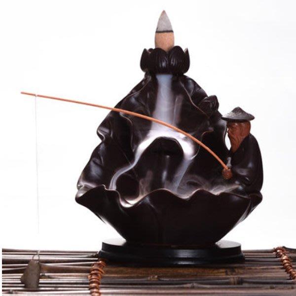 5Cgo【茗道】含稅會員有優惠   534138828857 陶瓷倒流香爐擺件創意古姜太公釣魚香插檀香塔香茶道香爐香薰爐