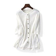 【M's】春夏新款圓領百搭纯色褶皺舒適襯衫*均碼。L80601