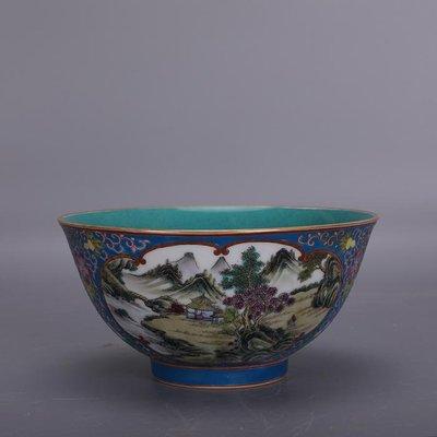 【三顧茅廬 】大清雍正粉彩描金因子開窗山水紋瓷碗 官窯古瓷古玩古董收藏