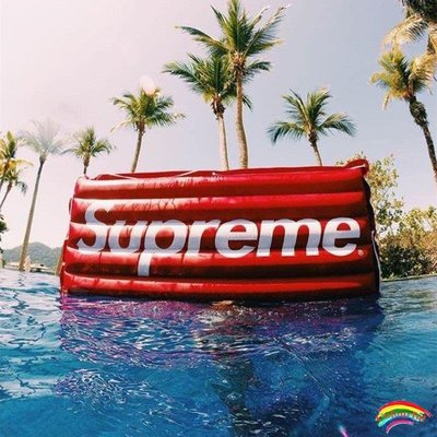 潮牌supreme浮床水上游泳浮板紅色充氣床  拍照道具 床墊氣閥#Colourful