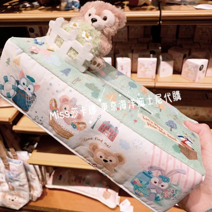 Miss莎卡娜代購【東京海洋迪士尼】﹝預購﹞2019春季 達菲家族捉迷藏 達菲熊 絨毛娃娃玩偶裝飾 彩色圖案 面紙套