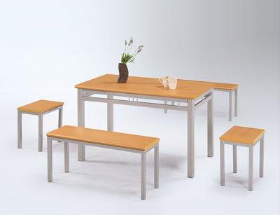 【人家人具】木紋雙人板凳椅(木紋檯面板/烤銀)OA219-3