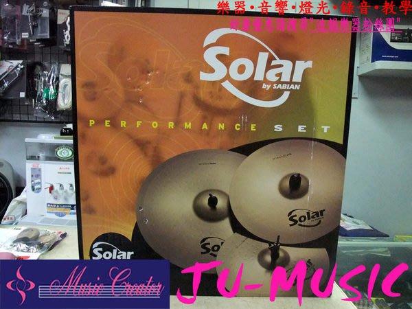 造韻樂器音響- JU-MUSIC - Solar by SABIAN 銅鈸 組 四片組 附贈 耐用 銅鈸袋