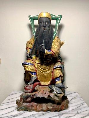 台灣早期手工雕刻 樟木玄天上帝 高1尺6 真武大帝 老神像