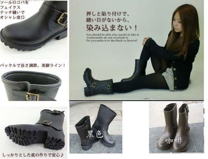 百搭款 現貨ViVi雜誌款 雨靴 騎士靴 中筒皮靴