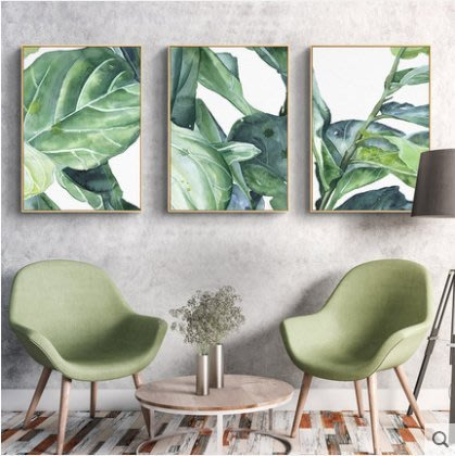 『格倫雅』熱帶雨林北歐裝飾畫樹葉掛畫客廳墻畫綠色植物墻飾綠植壁畫^13725