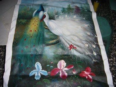 『孔雀』手工油畫原作無框長寬約98x68公分最美觀奇特的一幅油畫