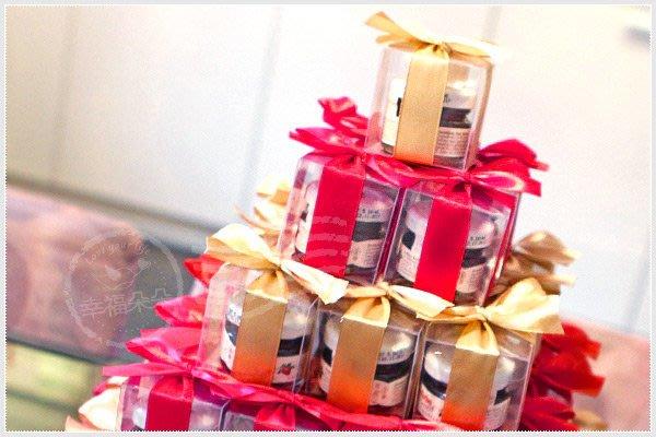 幸福朵朵【甜蜜蜜「透明盒裝」奧地利D'arbo果醬小禮盒 x 91盒 (紅色+金色緞帶)】-送客禮/婚禮小物