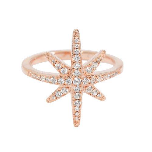 安安精品保證正品~apm MONACO R15734OX法國精品珠寶 優雅玫瑰金繁星鑲鋯戒指