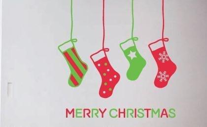 小妮子的家@聖誕襪快樂 壁貼/牆貼/玻璃貼/磁磚貼/汽車貼/家具貼