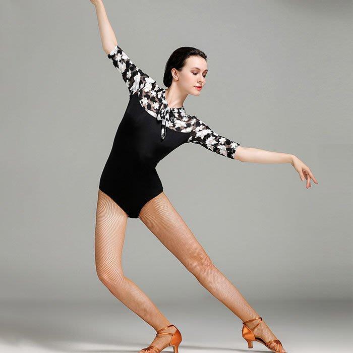 5Cgo【鴿樓】含稅會員有優惠 557402509313 系帶式楓葉蕾絲連體服成人拉丁舞上衣芭蕾舞練功服體操服瑜伽服舞衣