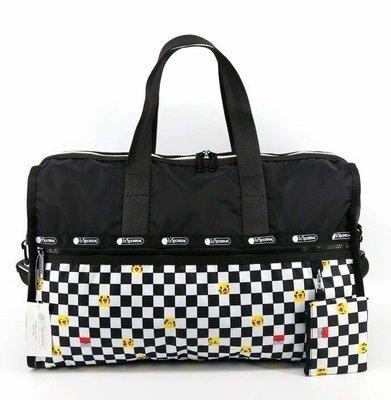 美國 Lesportsac 7185 皮卡丘 神奇寶貝 寶可夢 黑白格 手提肩背斜背大款旅行包 附可掛式小收納袋 背面可插行李箱 限量優惠