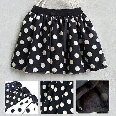 【韓國空運正韓童裝】正韓--波卡中圓點波浪短裙--黑/香草白--兩色可選