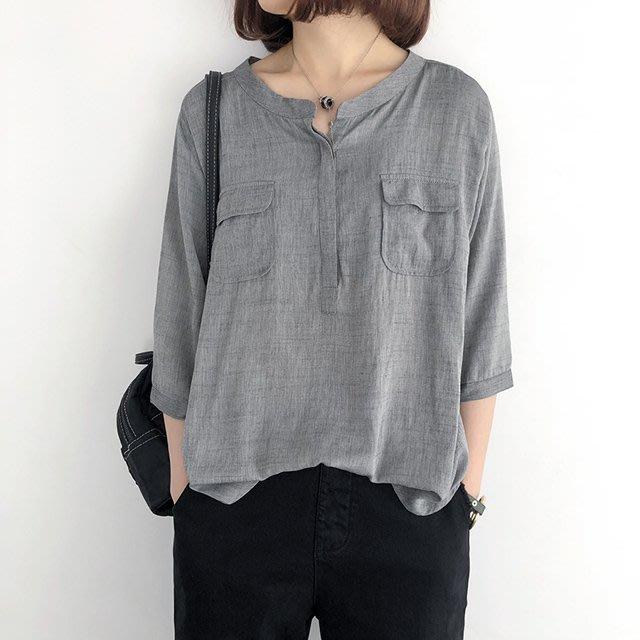 棉麻【T12561】1A11韓。七分袖薄款襯衫3色F.預購。小野千尋