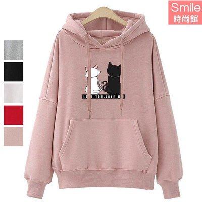 【V2979】SMILE-簡約可愛.貓咪字母印花長袖連帽上衣