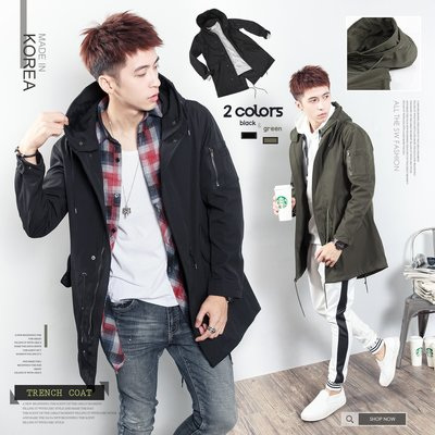 。SW。【K71300】正韓am 韓國製 輕風衣材質 防潑水防風 超挺軟鋼絲連帽 小落肩 燕尾中長版外套 軍裝 GD