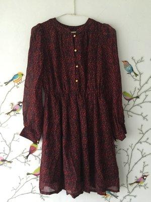 *衣服買二送一*純絲blumarine長袖黑紅灰印花洋裝 size s