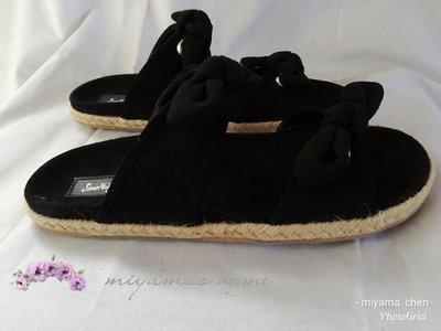 Something Borrowed黑色麂皮蝴蝶結平底涼鞋40號(SW0050)