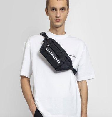 BALENCIAGA LOGO BAG FANNY PACK 21SS 巴黎世家 黑色腰包 包包 側背包 全新正品