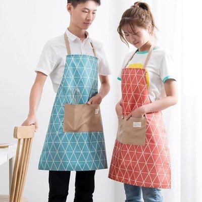【蘑菇小隊】防水圍裙情侶防油做飯掛脖圍腰廚房-MG10345
