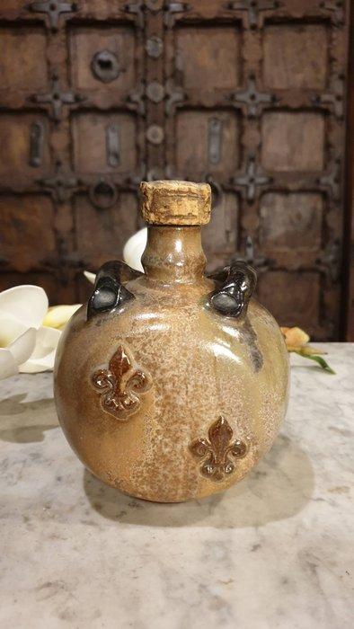 【卡卡頌  歐洲古董】比利時老件  藝術家  全手工 簽名  極具手感  風味 軟木塞  陶瓶  p0386 ✬