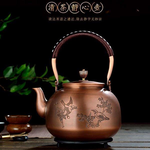 5Cgo【茗道】含稅會員有優惠 532758131432 功夫茶具純銅壺茶壺茶杯茶盤茶具功夫茶手工加厚紫銅壺花鳥大容量銅