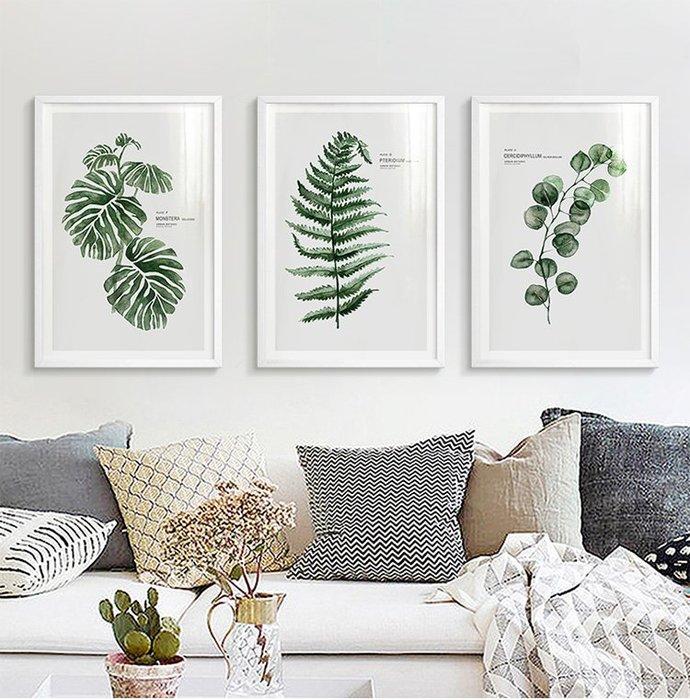 北歐現代簡約小清新植物水彩綠植葉子裝飾畫畫芯龜背竹虎皮蘭畫心(不含框)