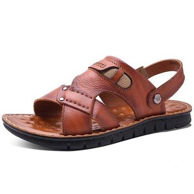 涼 鞋 真皮拖鞋-戶外休閒涼拖兩用男鞋子3色73sa22[獨家進口][米蘭精品]