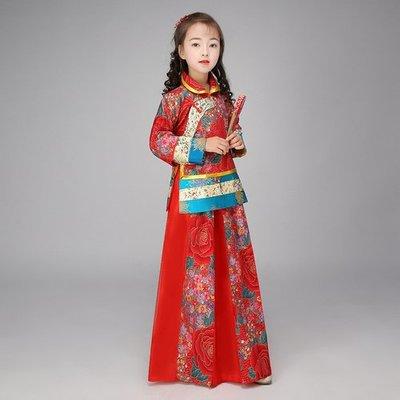 中式婚禮小花童服裝古裝傳統紅色女秀禾清朝民國兒童古裝影樓攝影(120CM)_☆優購好SoGood☆