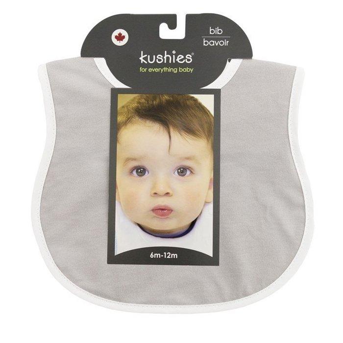 【兔寶寶部屋】Kushies加拿大進口-有機棉嬰兒雙層口水巾-淺灰色/背面白色(適用6-12個月)