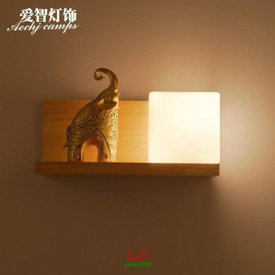 【美學】簡約現代臥室木藝壁燈 新中式實木過道壁燈 韓式木質壁燈MX_1822