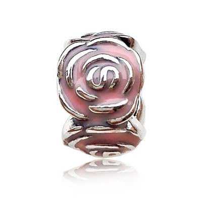 凱莉代購 S925純銀新款手鍊diy珠子配件粉色玫瑰花隔離珠  預購特價