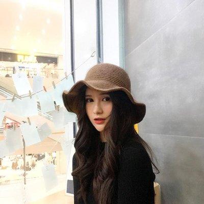 秋冬季羊毛呢帽子女士圓頂英倫漁夫帽捲邊毛線盆帽韓版保暖針織帽