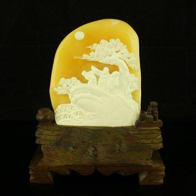 一口價 天然印尼金田黃精工雕刻3斤重拍賣擺件指日高升送證書包郵【古玩閣】6396