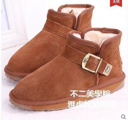 【格倫雅】^eo搭扣雪地靴女短靴真皮平跟冬保暖短筒情侶男女靴4224[g-l-y87