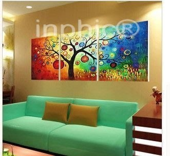 INPHIC-無框畫三聯 裝飾畫客廳現代 餐廳 臥室 壁畫 抽象發財樹