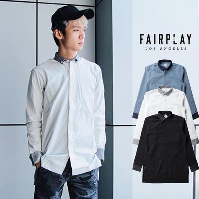 【GT】FairPlay Pike 黑藍白 長袖襯衫 素面 棉質 修身 休閒 商務 長版 彈性 美牌 現貨 日韓歐美風系