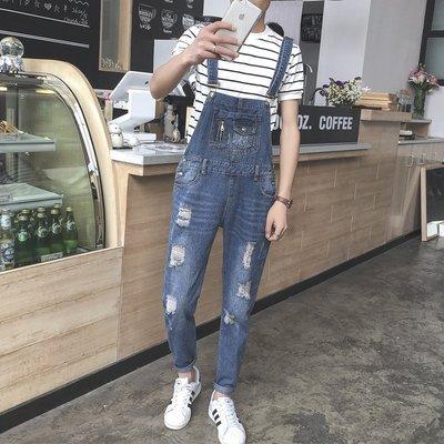 Coming Now - 韓國時尚復古純色懷舊風 文藝青春破壞 牛仔吊帶褲