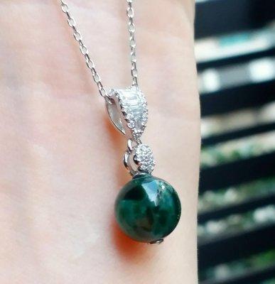 嗨,寶貝銀飾珠寶* 翡翠飾品☆925純銀飾品 保A貨 色澤油亮 氣質 華麗 閃亮 滿綠翡翠 滿鑽鋯石純銀墜子
