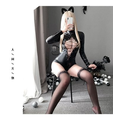 Sexy Deep V Zipper SM Shiny Catsuit Bodysuit faux leather