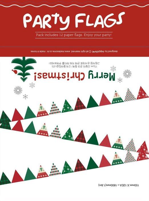 [ Atelier Smile ] 鄉村雜貨 懸掛裝飾彩旗 紙製Party Flags 耶誕節慶 聖誕裝飾 (現+預)