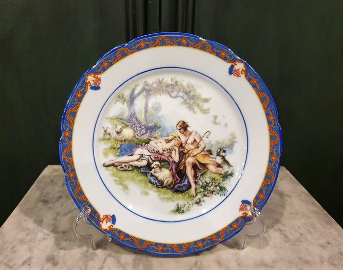 【卡卡頌 歐洲古董】💖法國 LIMOGES 玫瑰利摩日 洛可可 談情說愛 古典 飾盤 (老件未用)  p1806 ✬