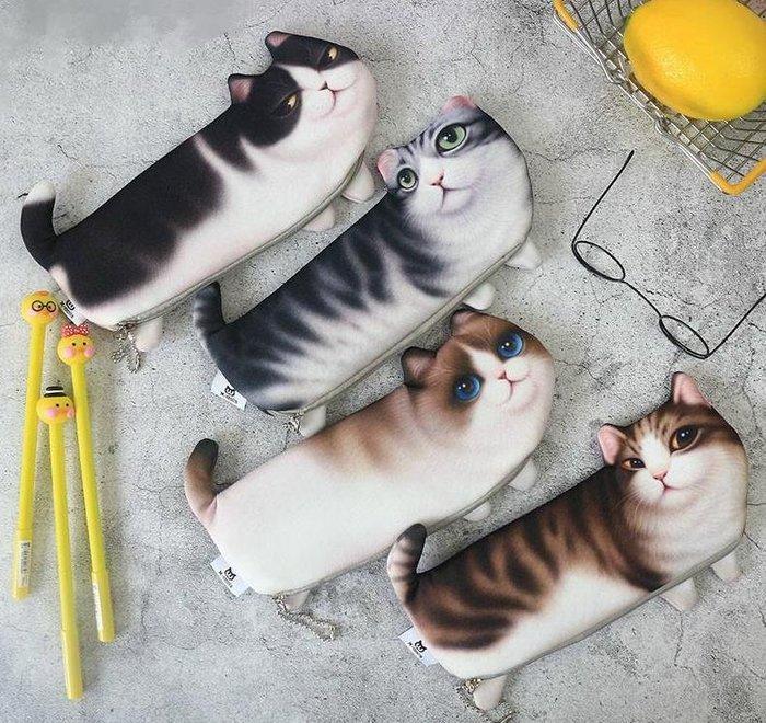 創意 貓咪筆袋 仿真 印花 萌貓 學生筆袋 化妝包 零錢包 鉛筆袋 開學文具