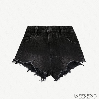 【WEEKEND】 MO&CO. Distressed 破壞 不修邊 牛仔 超短褲 熱褲 黑色 18秋冬
