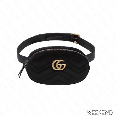 【WEEKEND】 GUCCI GG Marmont 天鵝絨 腰包 黑色 Melody 孫芸芸